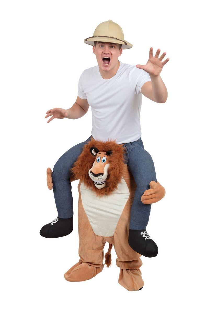 Op De Rug Van Een Echte Leeuw Man Kostuum