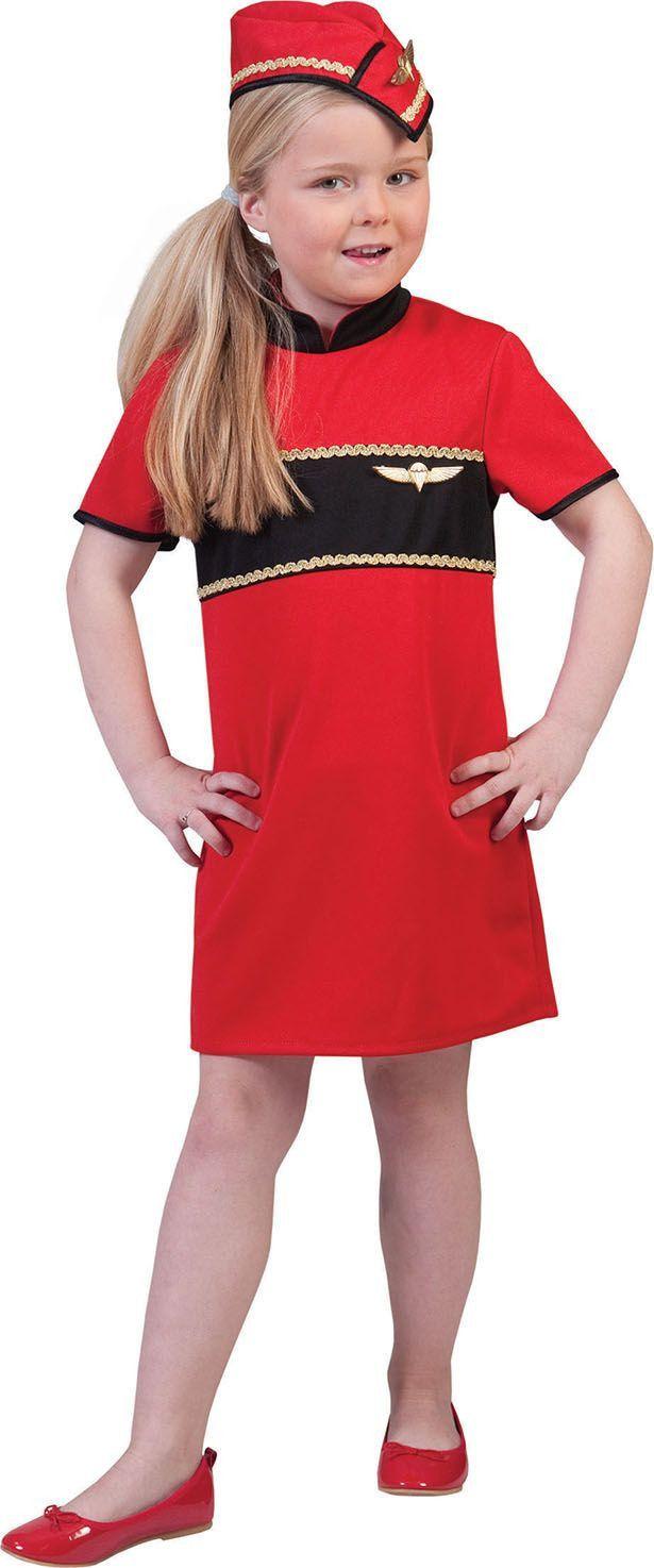 Tessa De Rode Stewardess Meisje Kostuum