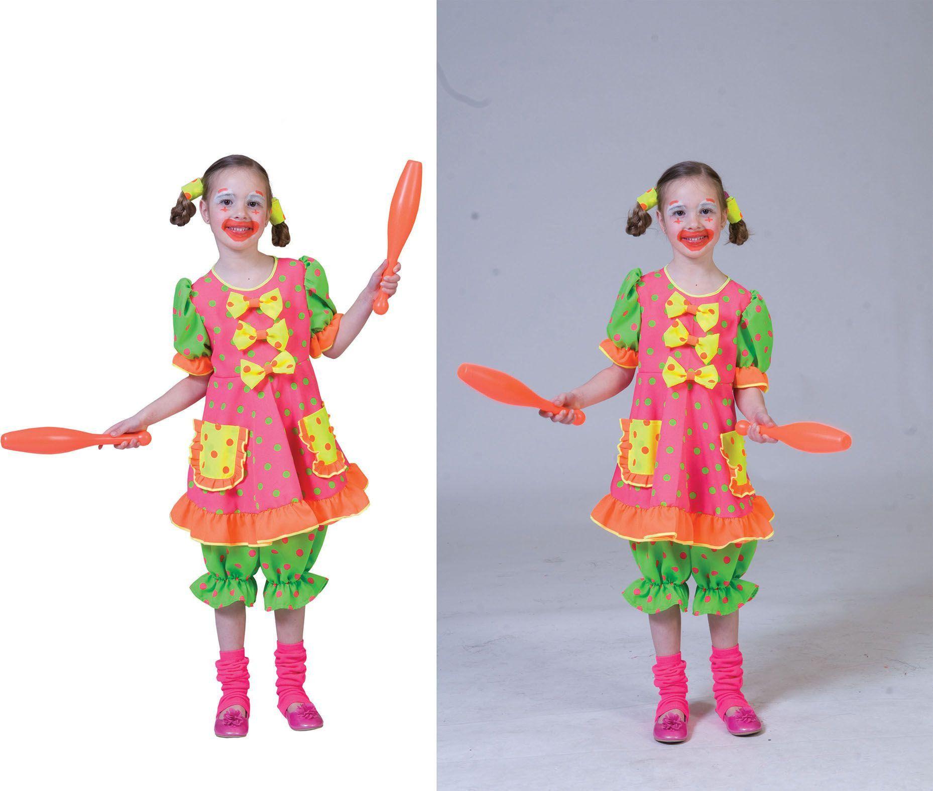 Clown Fluorino Meisje Kostuum