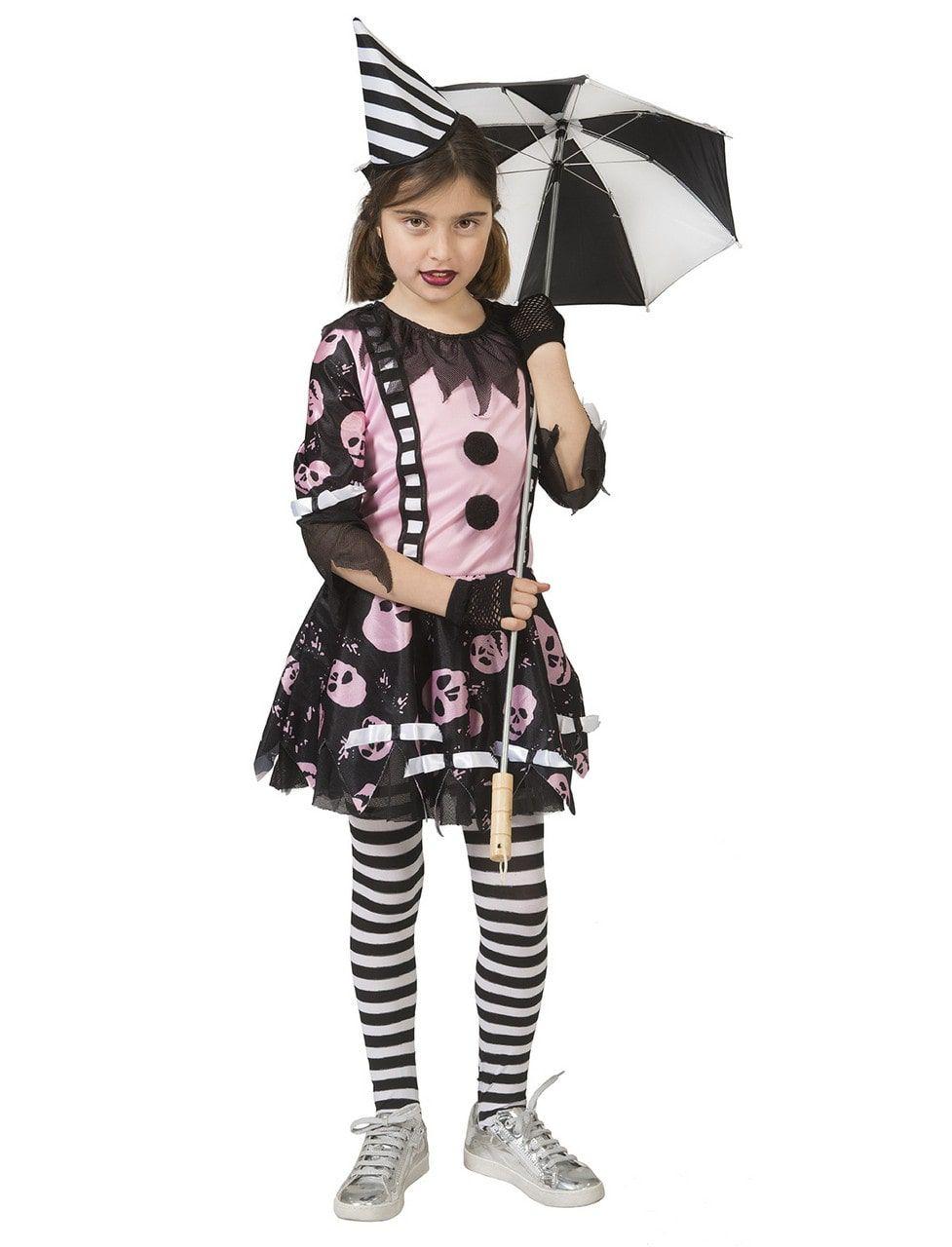 Enge Clown Roze Schedels Meisje Kostuum