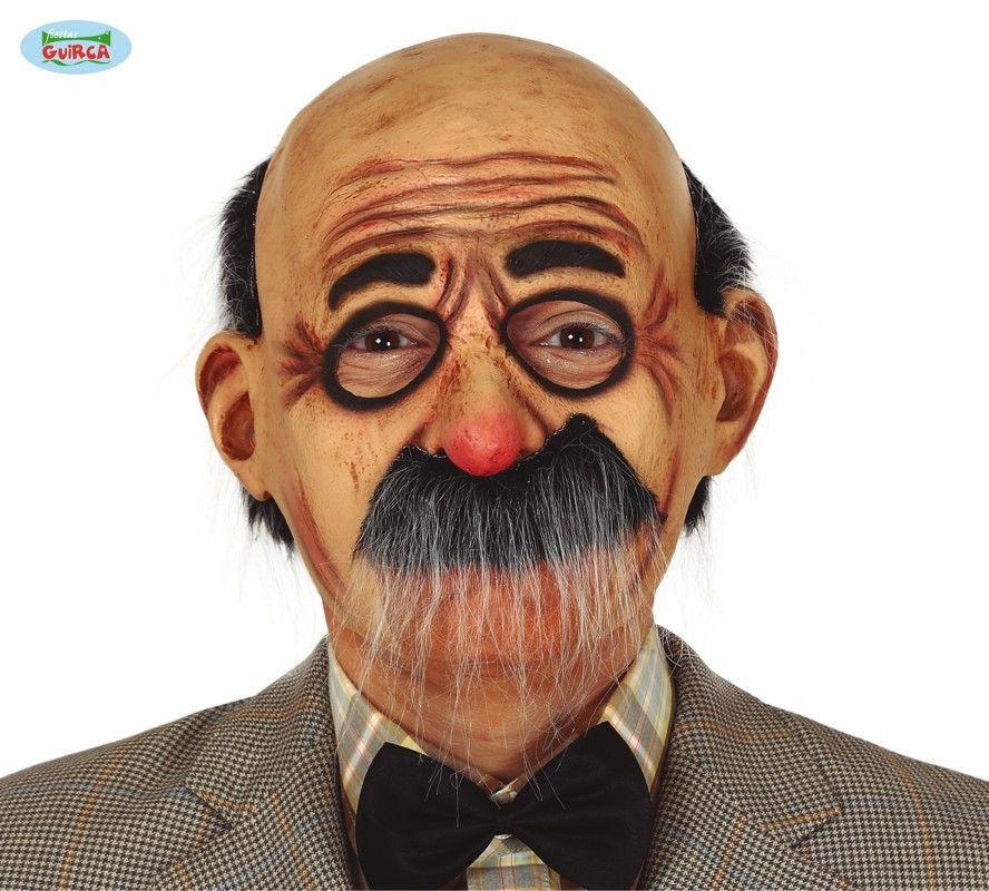 Masker Grootvader Met Snor En Opgetekende Bril
