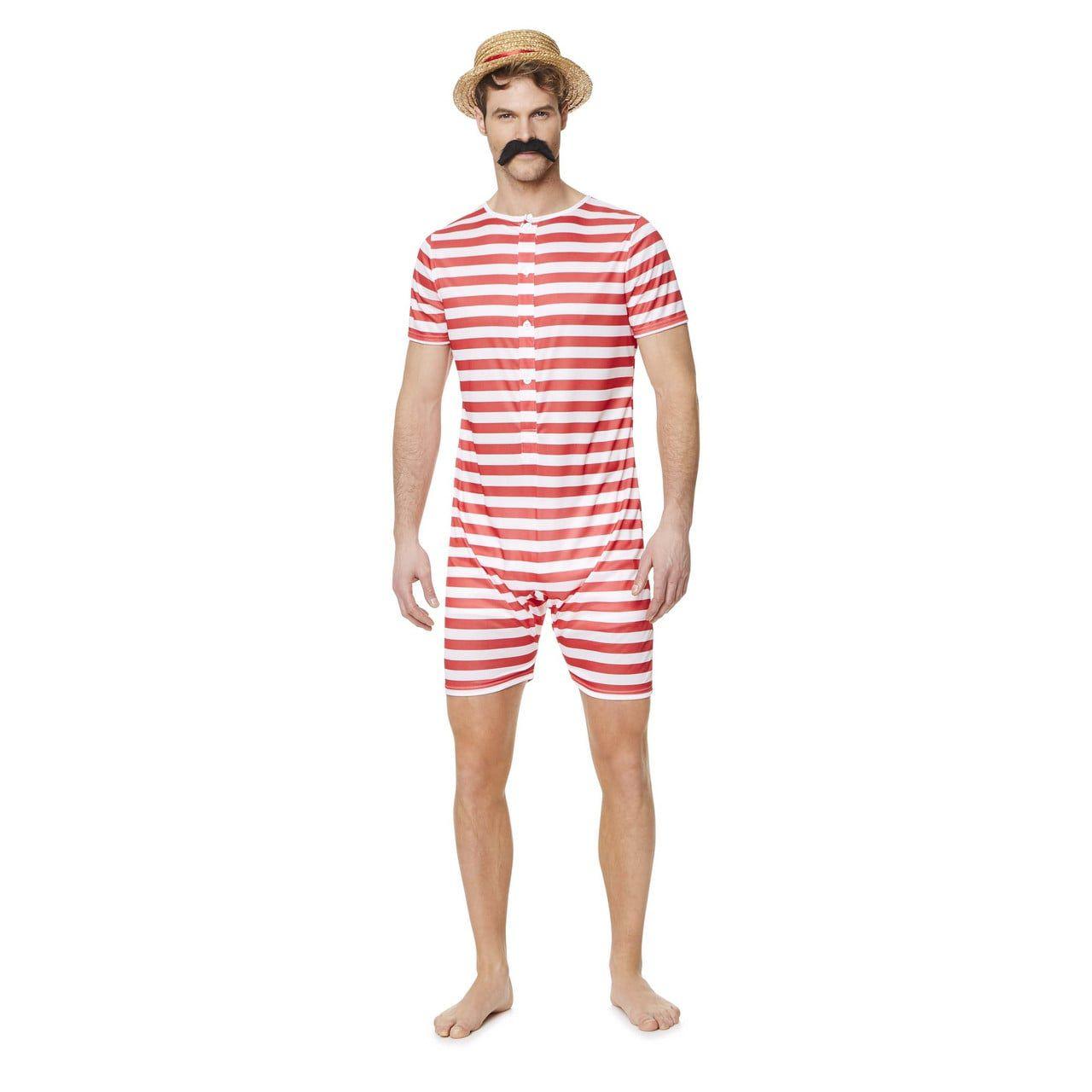 Gestreept Badmeester Jaren 20 Rood Kostuum