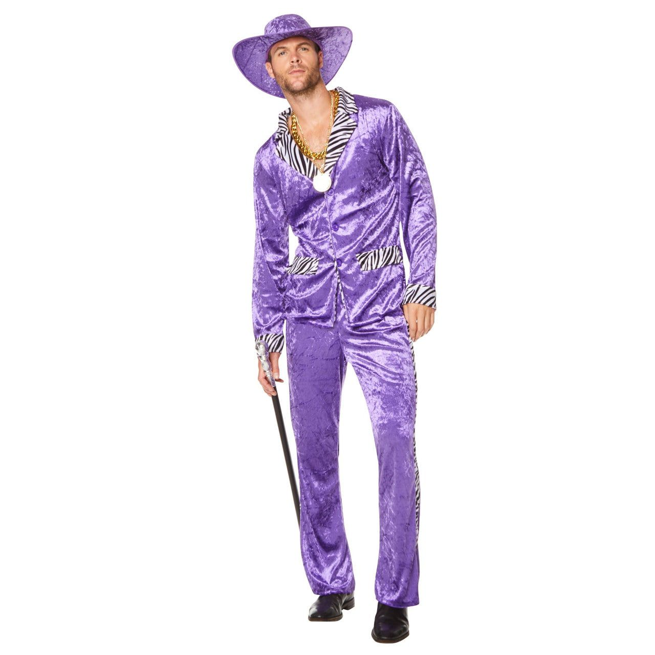 Paarse Zebra Pimp Rosse Buurt Man Kostuum