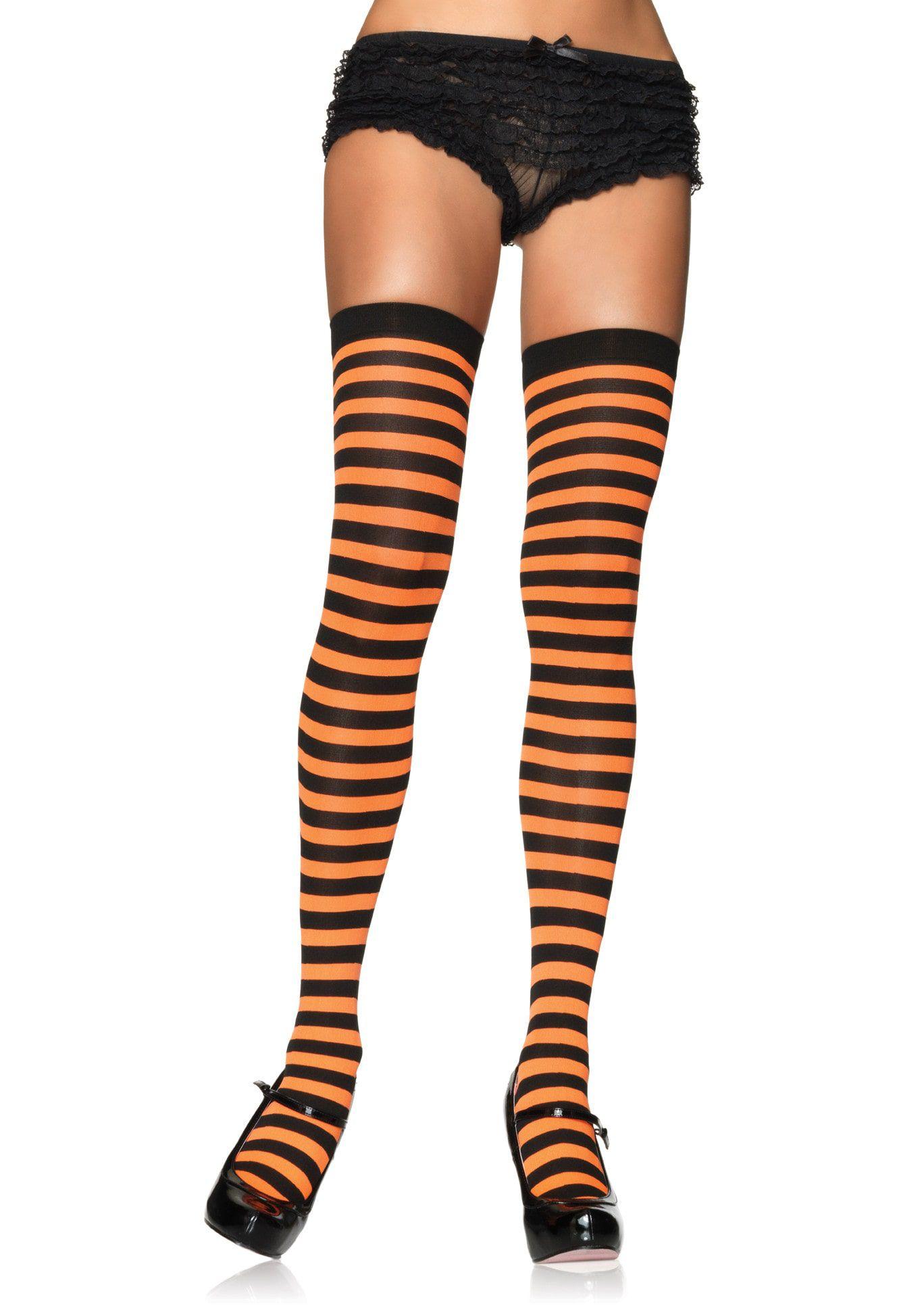Gestreepte Kousen Oranje-Zwart