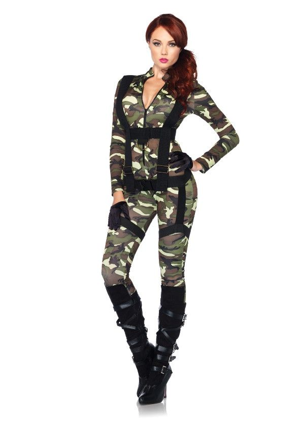 Sexy Paratrooper Soldaten Jumpsuit Vrouw Kostuum