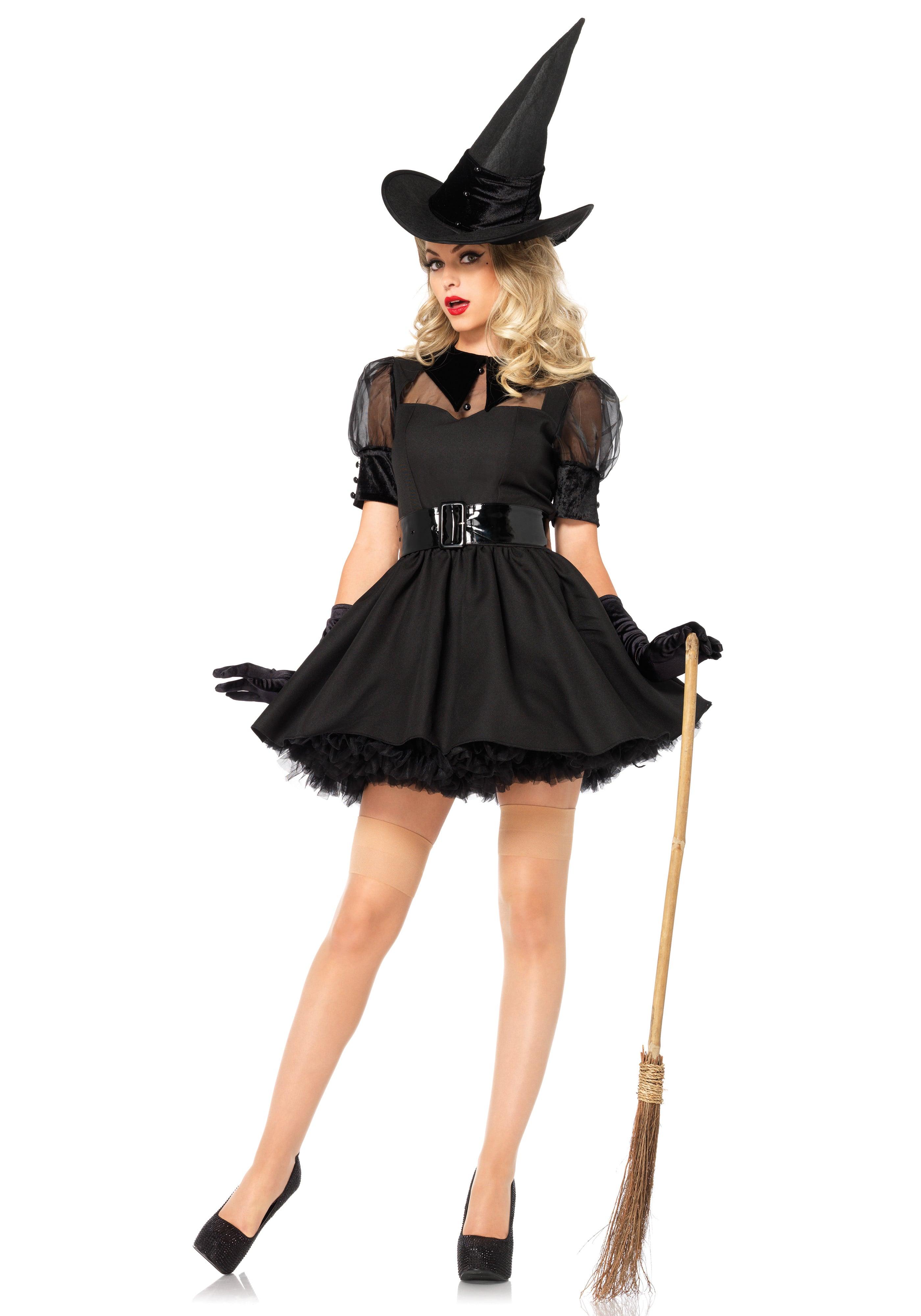 Betoverende Sexy Zwarte Heks Vrouw Kostuum
