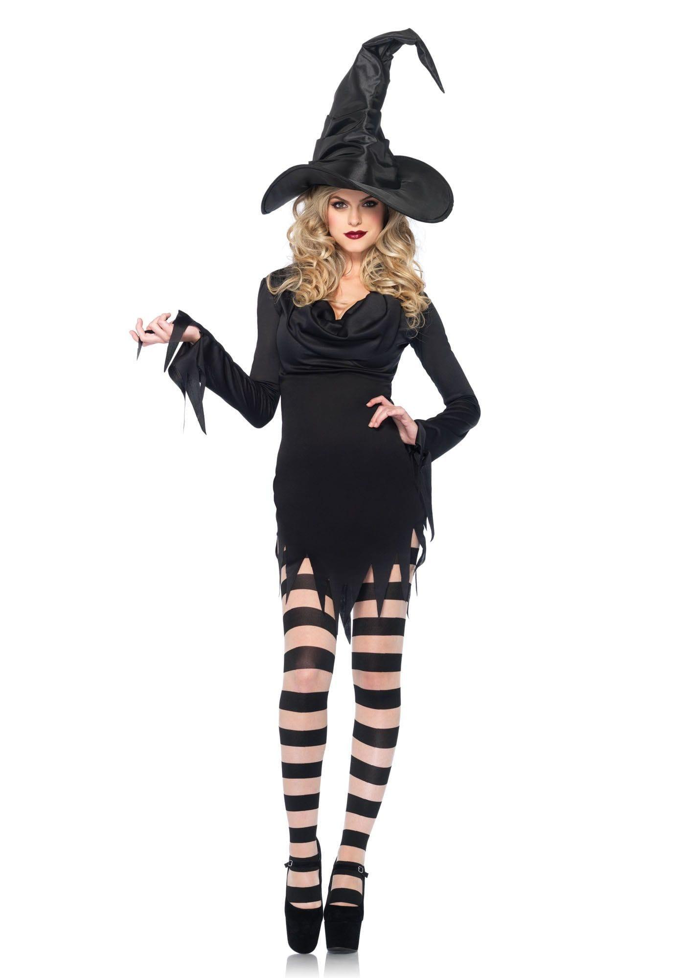 Zwart Heksenjurkje Met Waterval Hals Vrouw