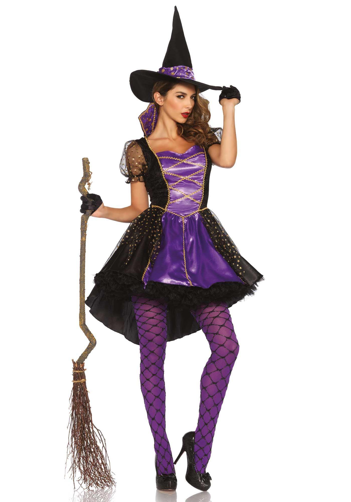 Paars-Zwarte Klassieke Heks Ms Stasia Vrouw Kostuum