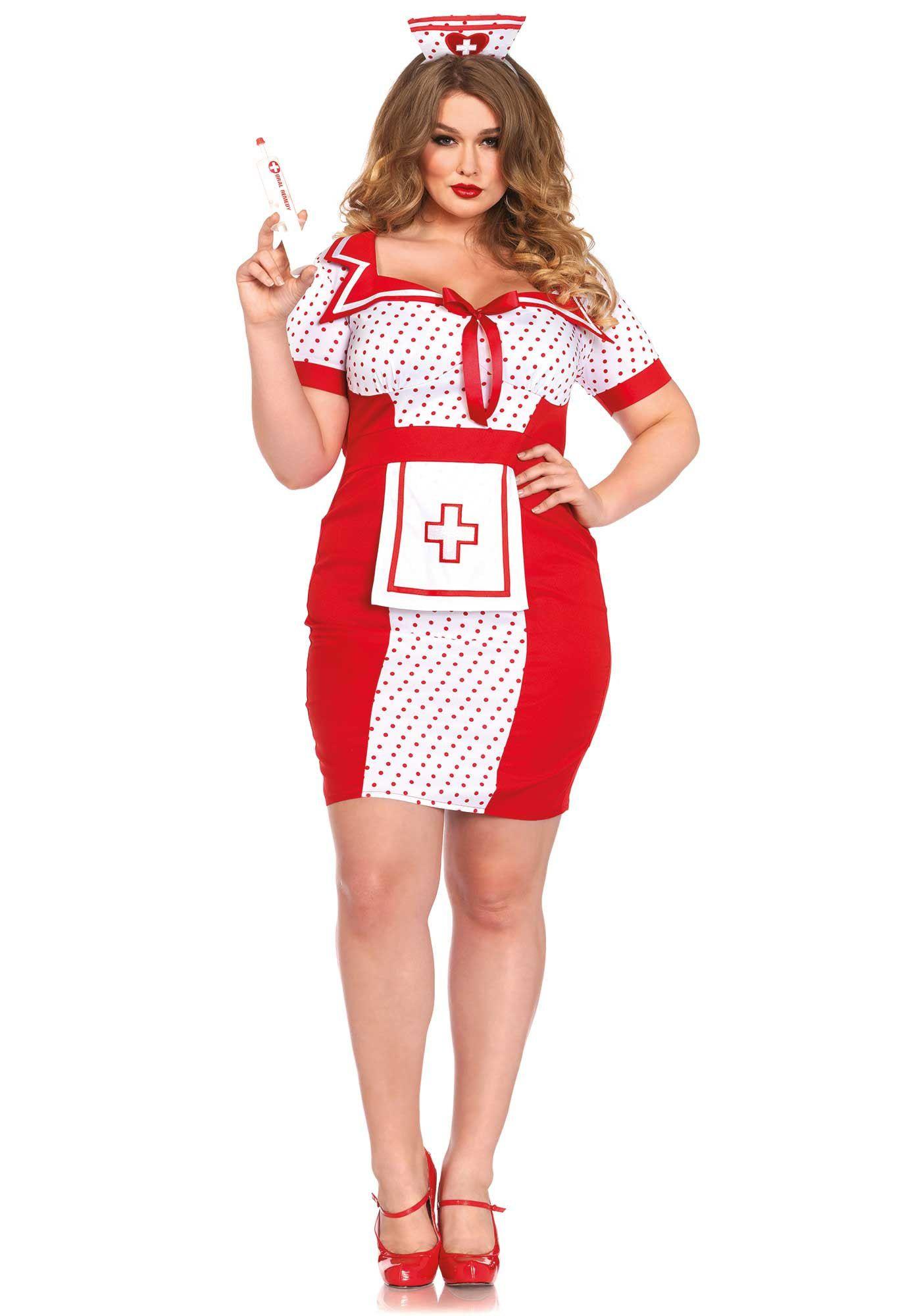 Wit-Rode Zorgzame Verpleegster Jurk (Plus Size) Vrouw