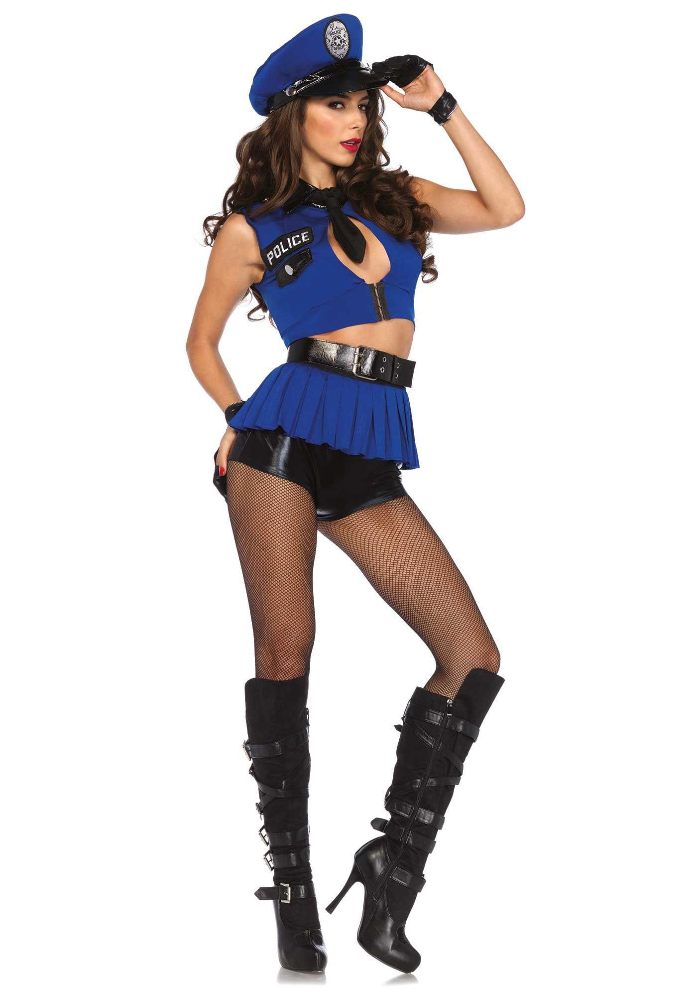 Blauwe Spannende Politieagente Vrouw Kostuum