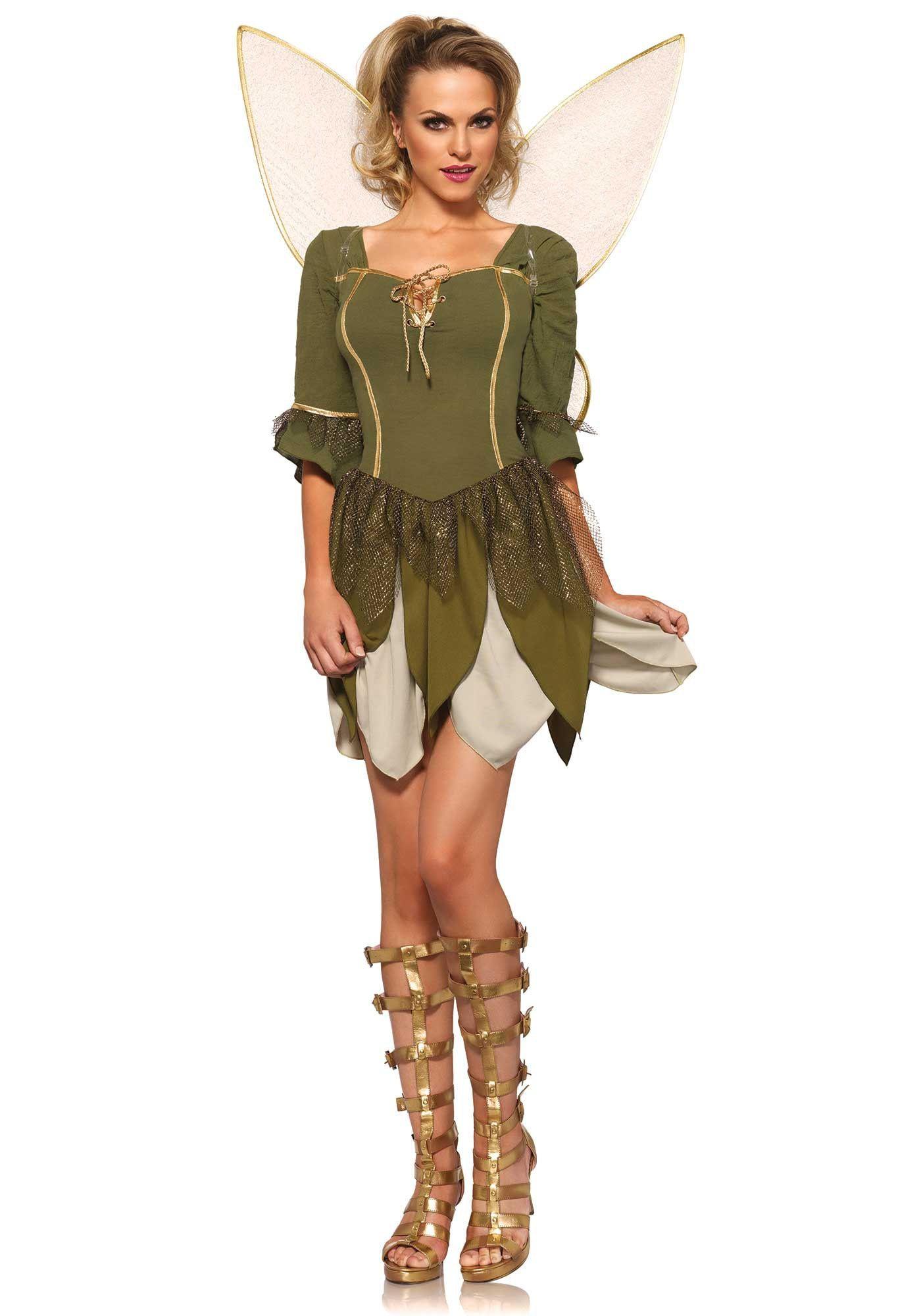 Sexy Sprookjes Tinkerbell Gouden Fee Vrouw Kostuum