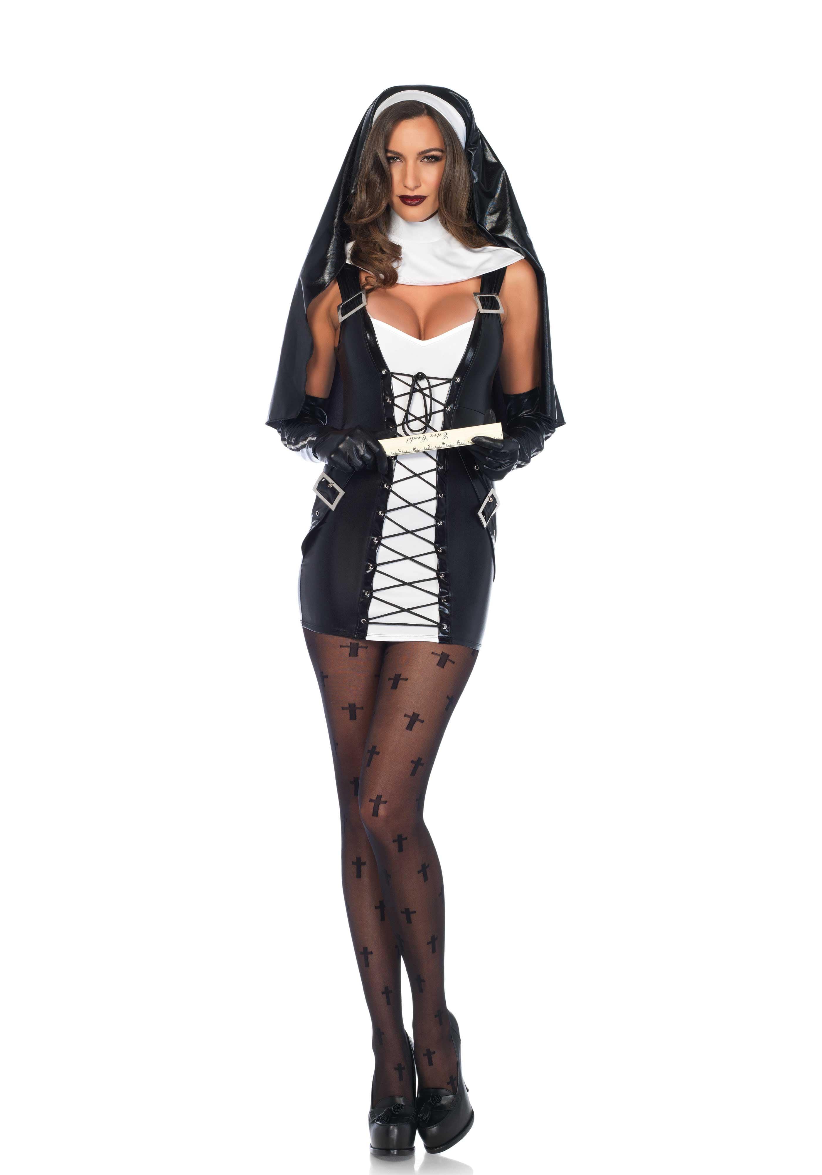 Zwart-Witte Sm Non Vrouw Kostuum