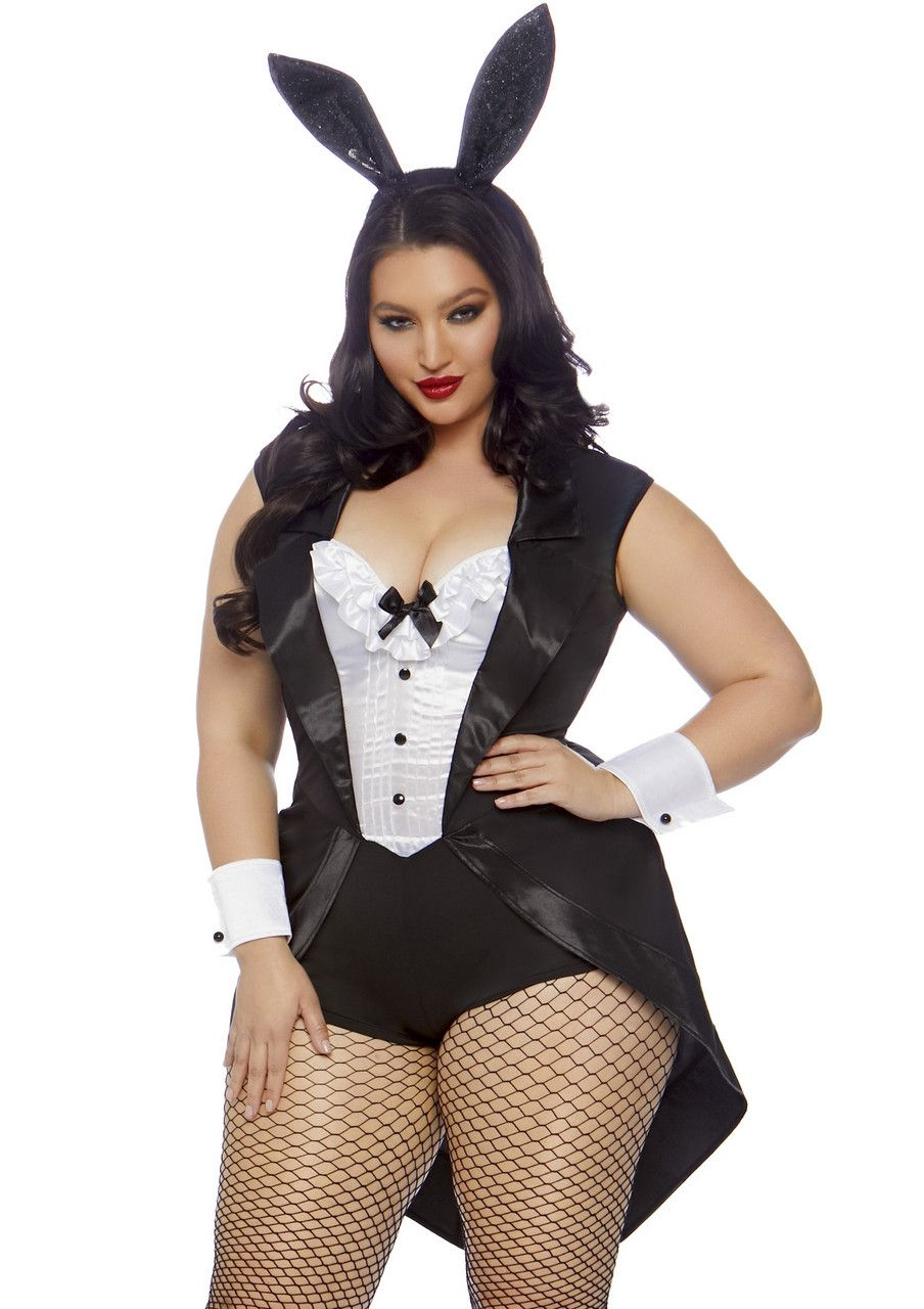 Pikante Smoking Playboy Bunny Plus Size Vrouw Kostuum
