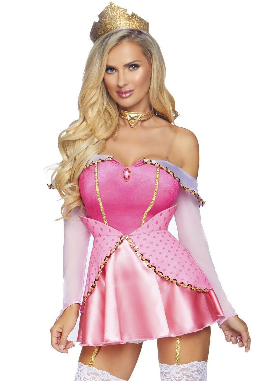Sexy Schone Slaapster Roze Doornroosje Vrouw Kostuum