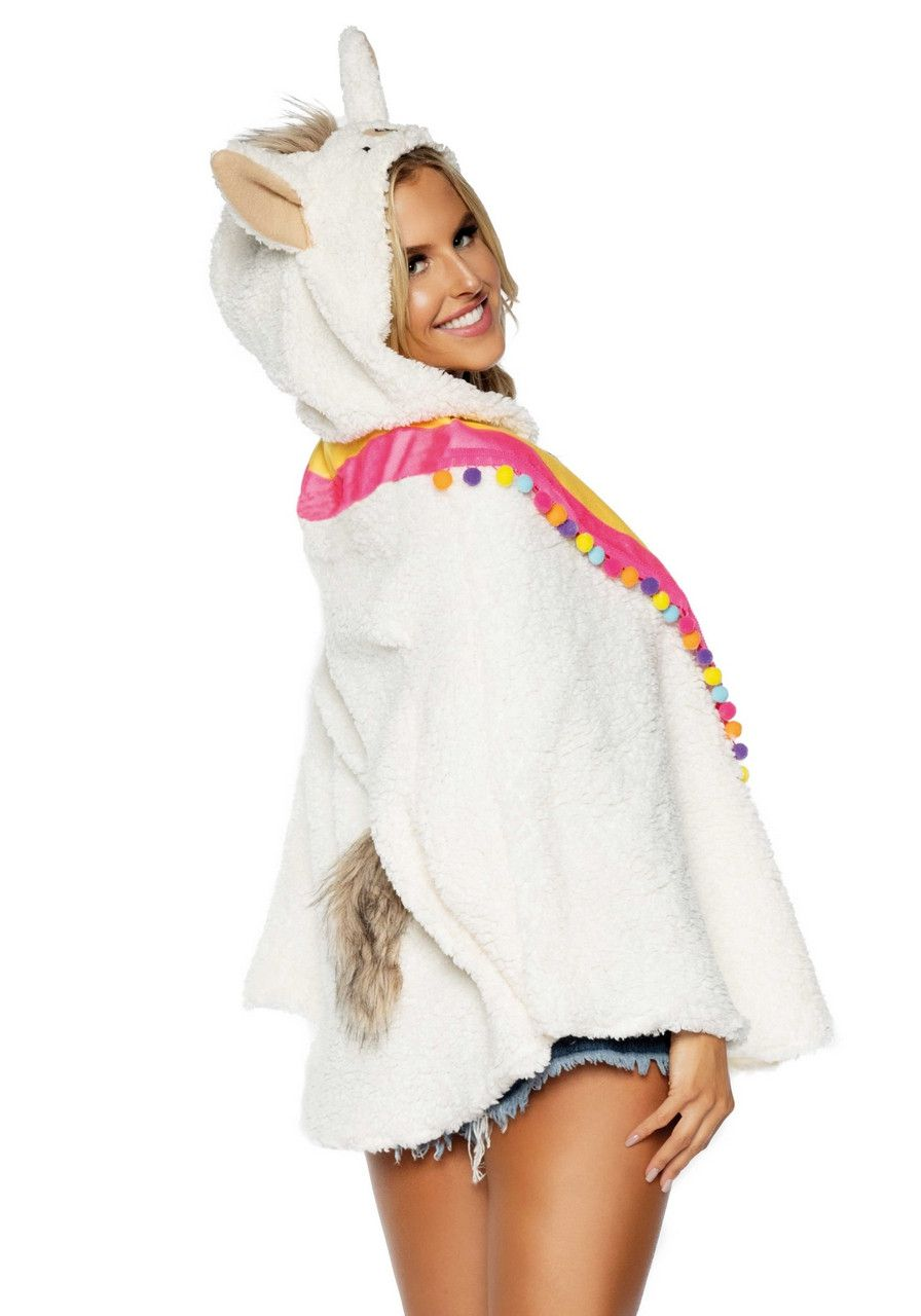 Witte Lama Mexicaanse Poncho Vrouw