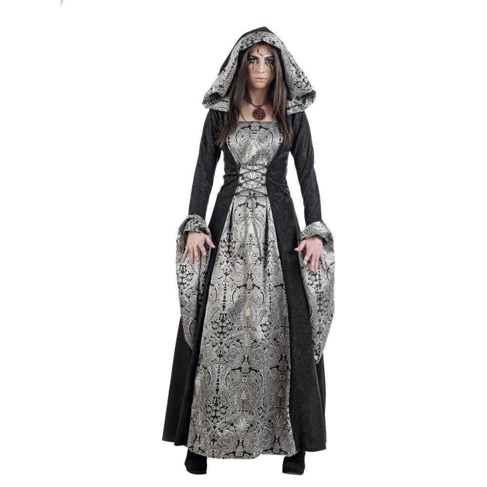 Barones Zilver Brokaat Renaissance Vrouw Kostuum