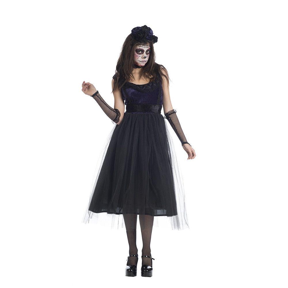 Zwarte Dia De Los Muertos Weduwe Vrouw Kostuum