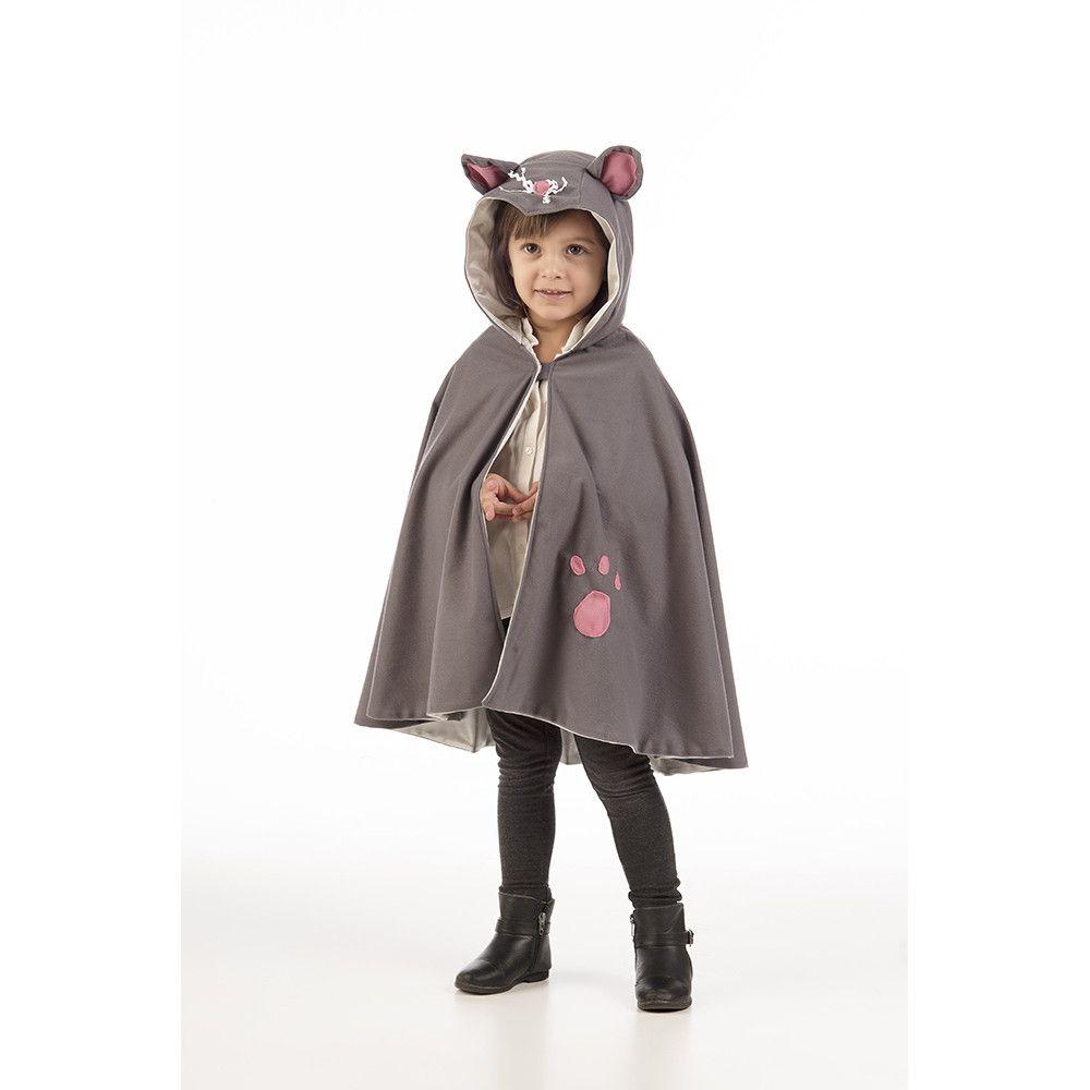 Cape Snorrende Grijze Poes Kind Kostuum