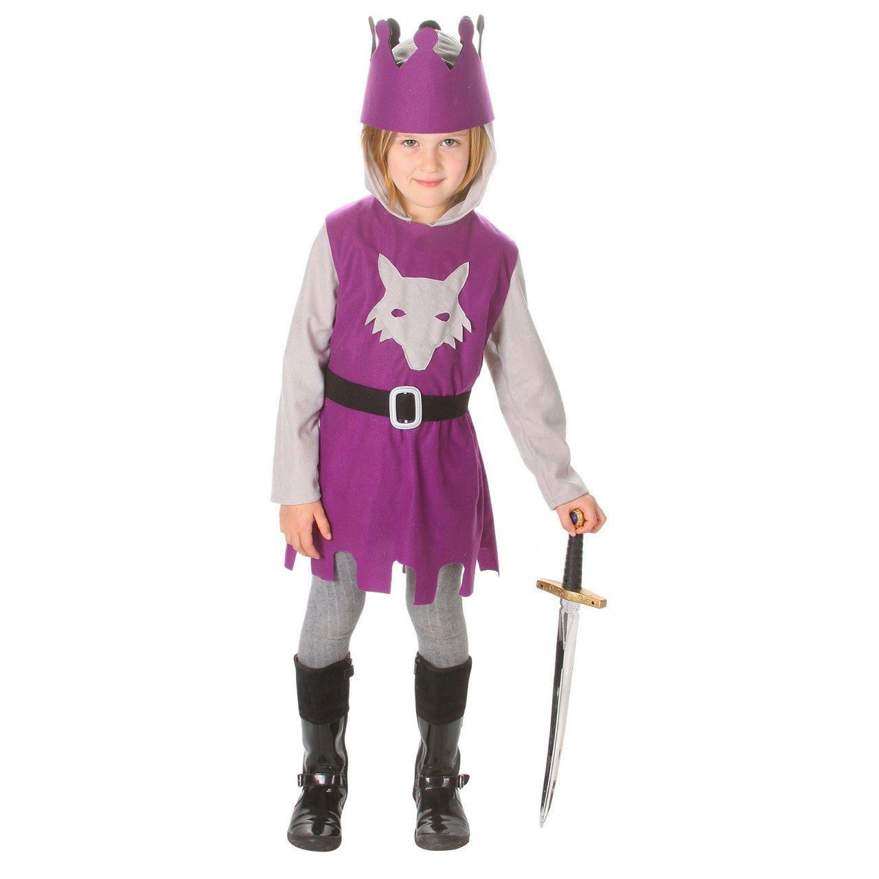 Dappere Paarse Ridder Vos Blazoen Kind Kostuum