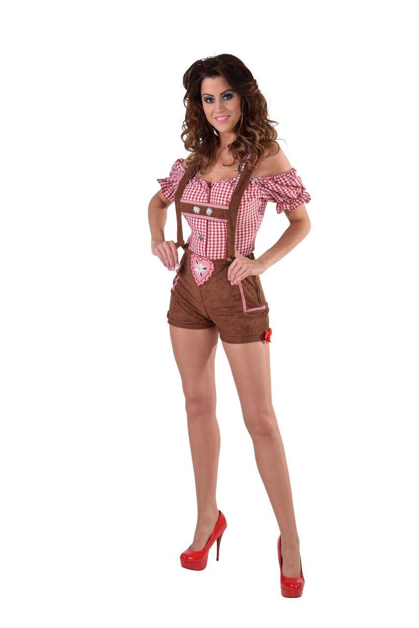 Hartverwarmende Hotpants Lederhosen Edelweiss Vrouw Kostuum