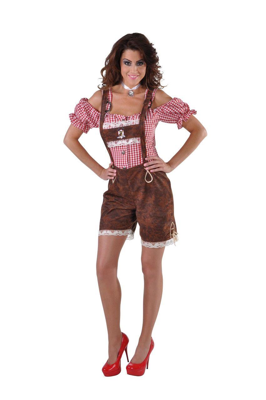Bruine Korte Sexy Tiroler Alpenweide Bierfeest Lederhosen Vrouw Kostuum
