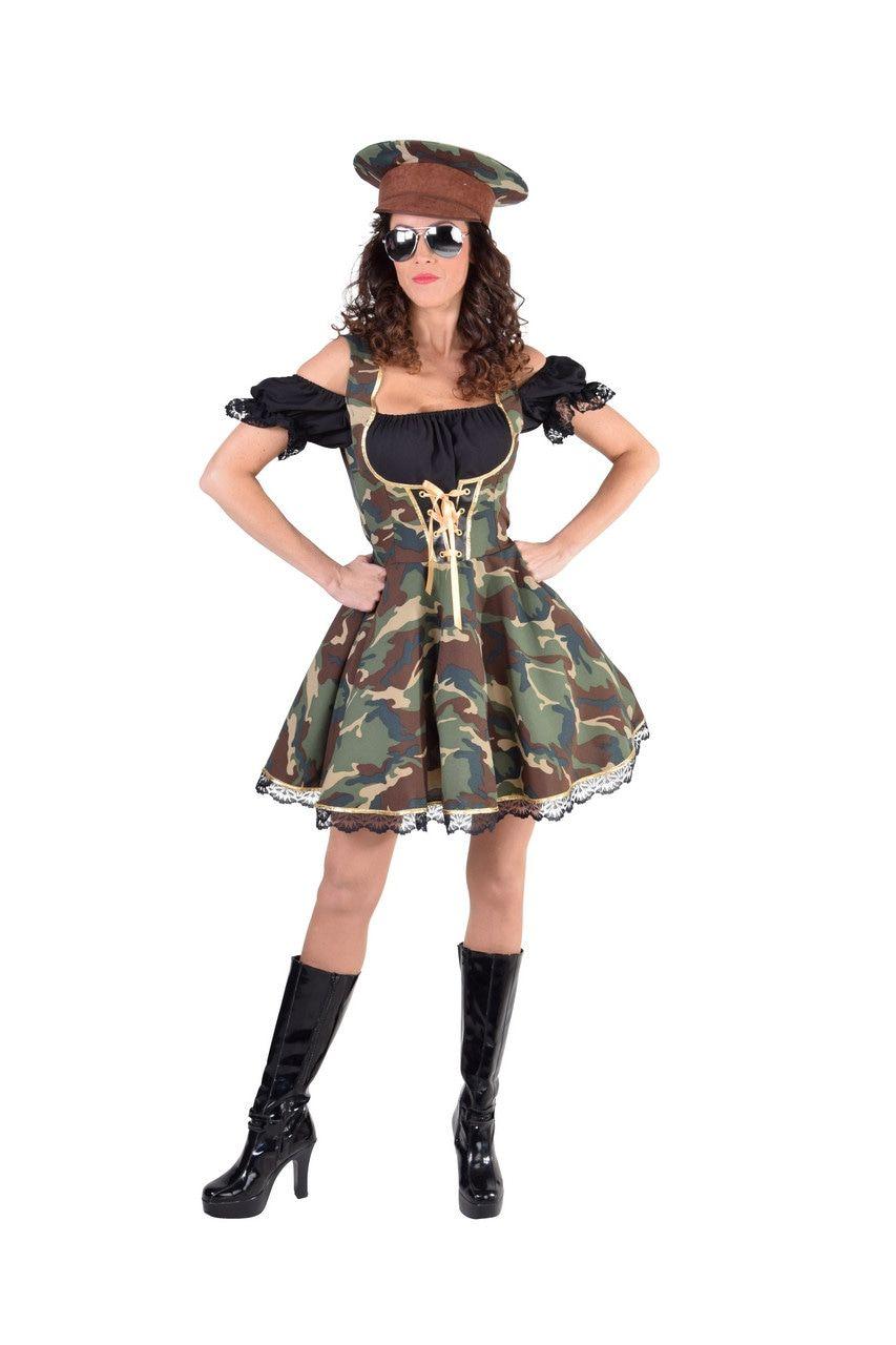 Camouflage Amazone Leger Dirndl Dameskostuum Vrouw Kostuum