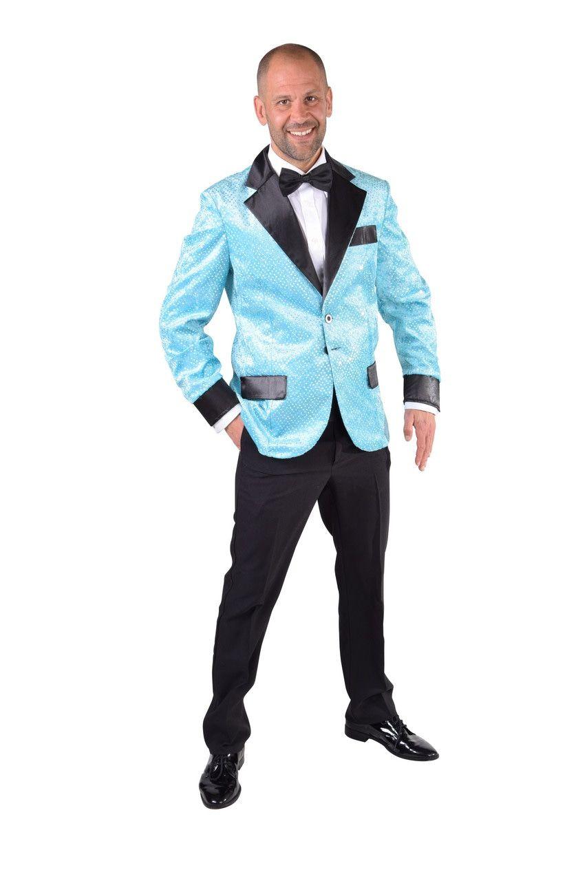 Glitter Colbert Casino Royal Lichtblauw Man
