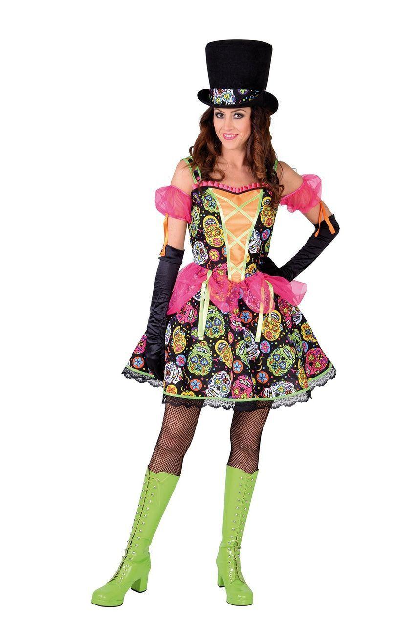 Vrolijk Feest Dia De Los Muertos Mexico Vrouw Kostuum