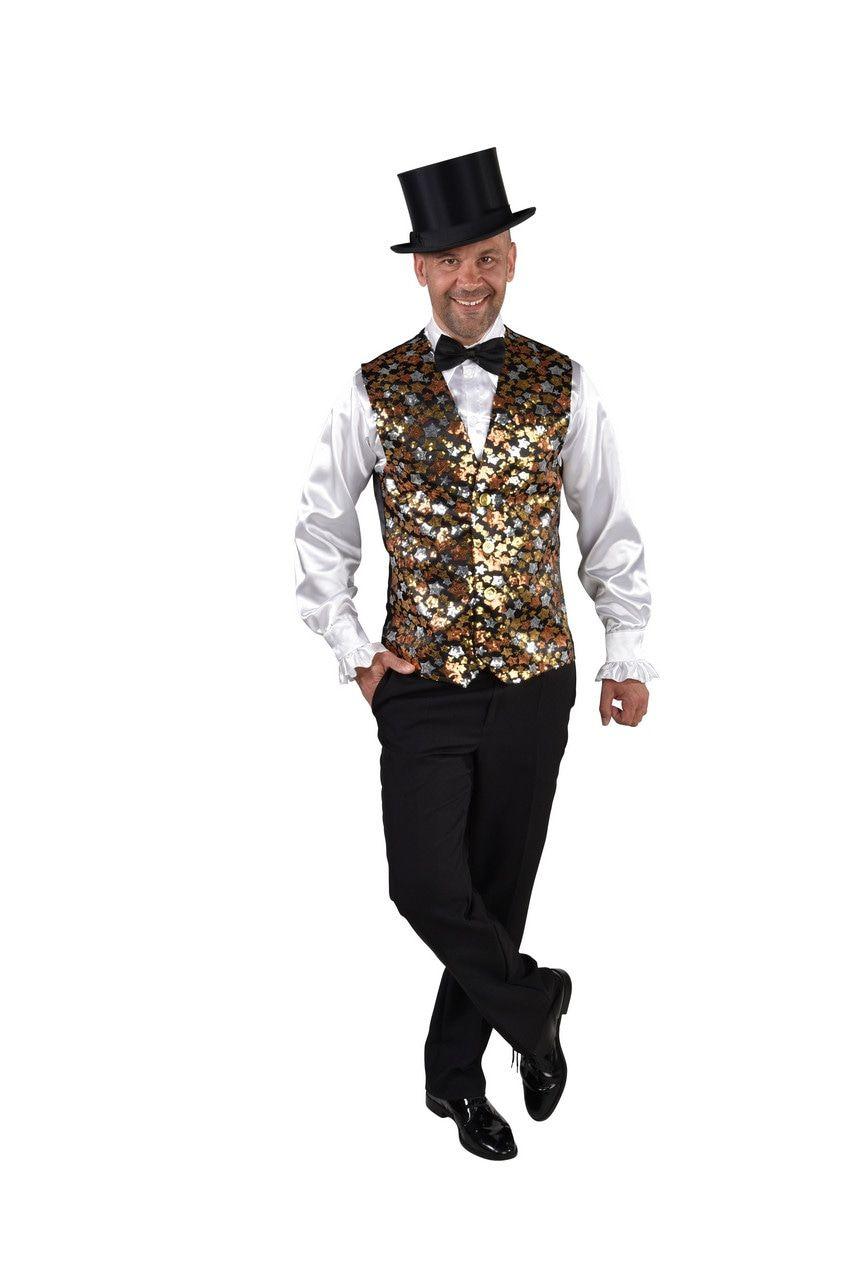 Gilet Showmaster Sterren Pailletten Goud Man Kostuum