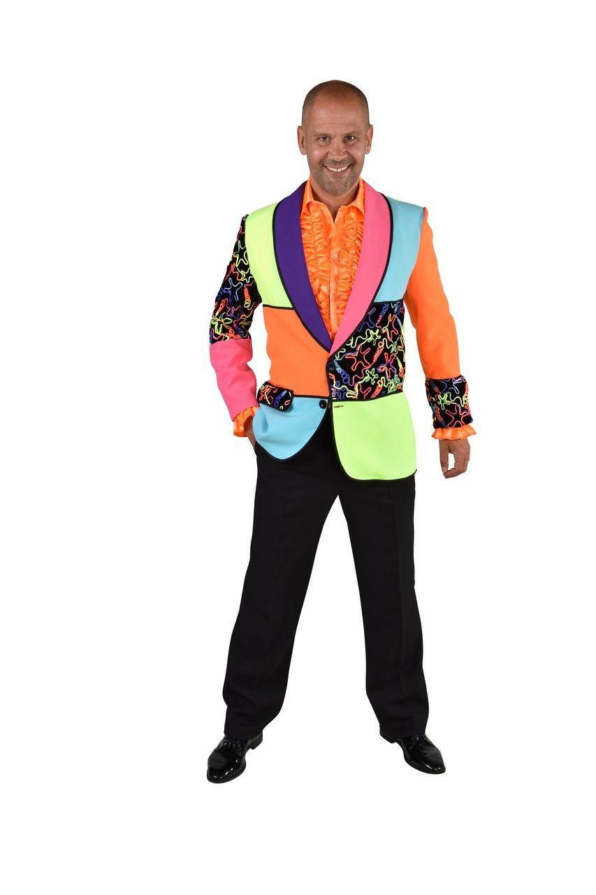 Grote Kleurige Vlakken Jaren 80 Neon Swirls Colbert Man