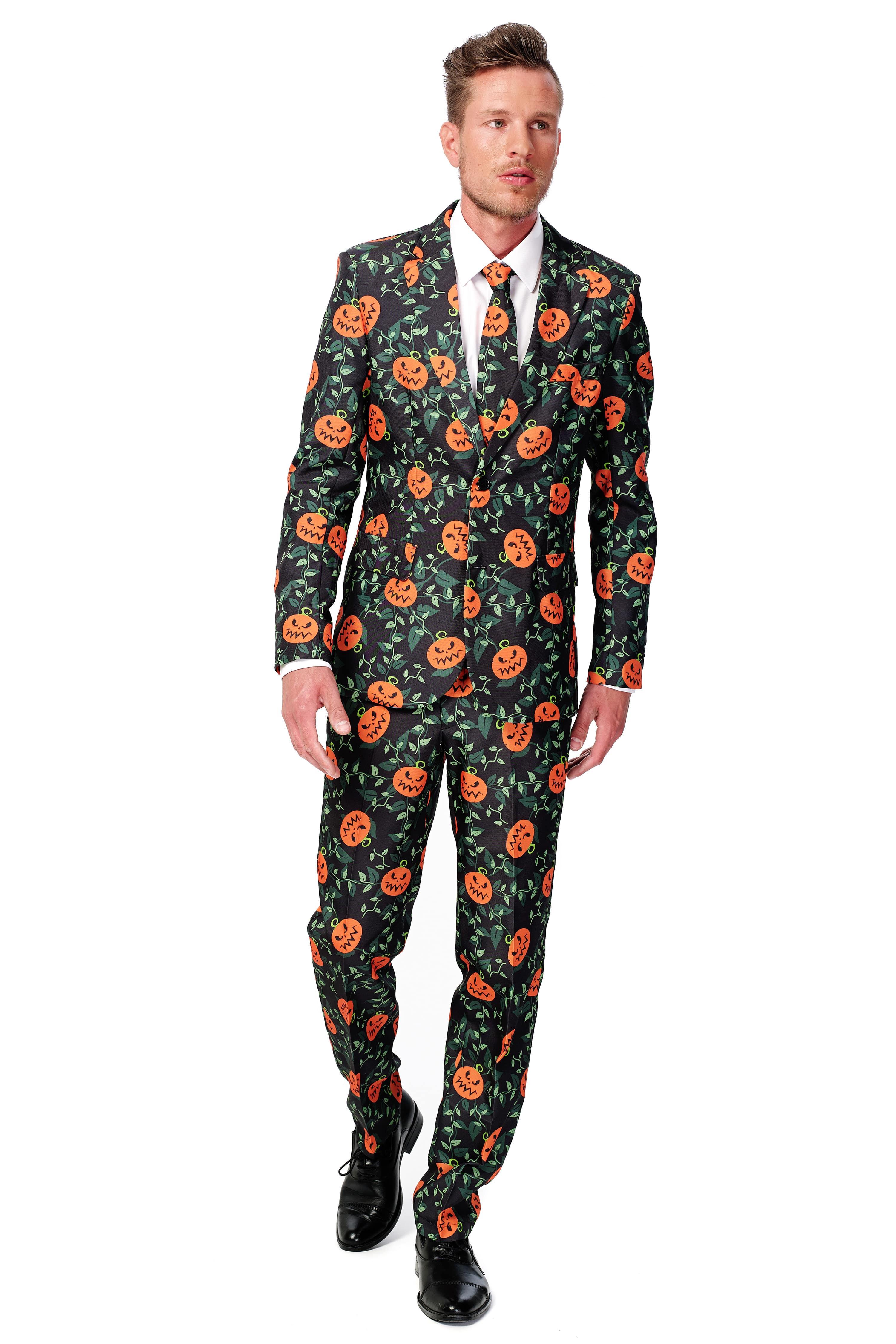 Stylish Halloween Pumpkin Leaves Suitmeister Kostuum Man