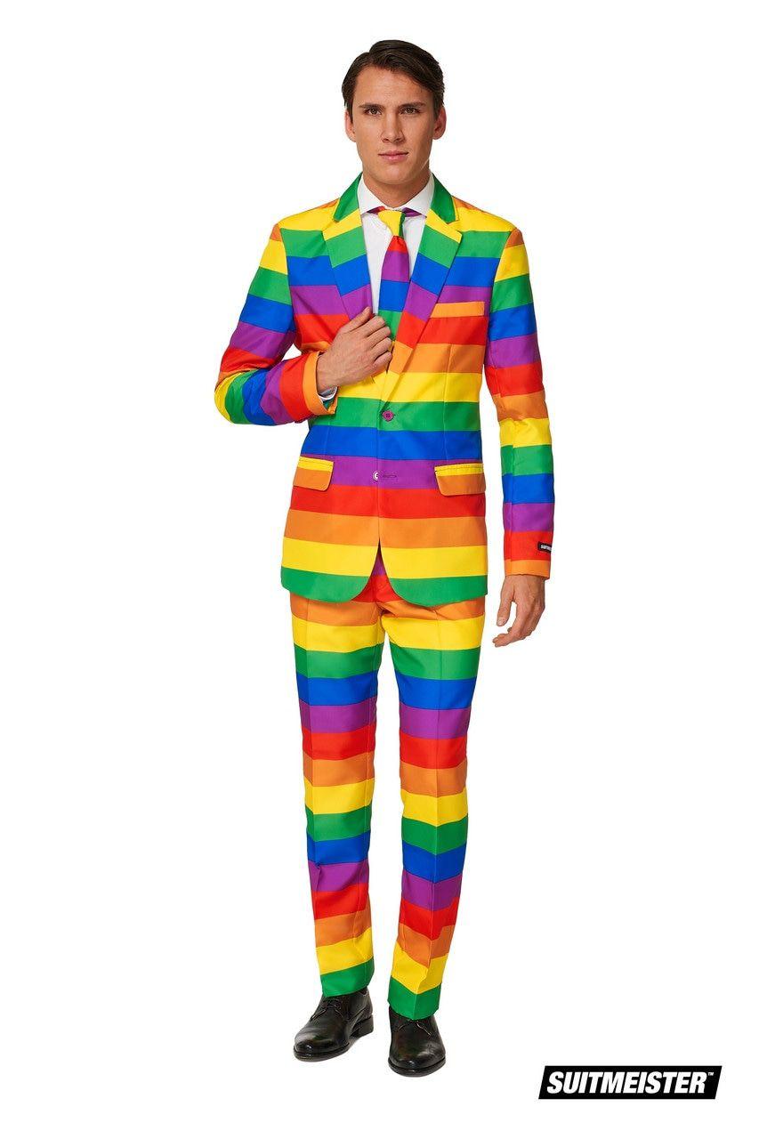Uitgesproken Kleurrijk Regenboog Man Kostuum