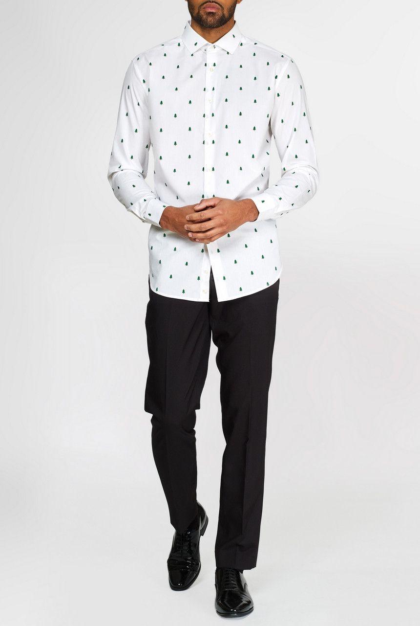 Subtiele Kerstbomen Overhemd Wit Met Lange Mouwen Man