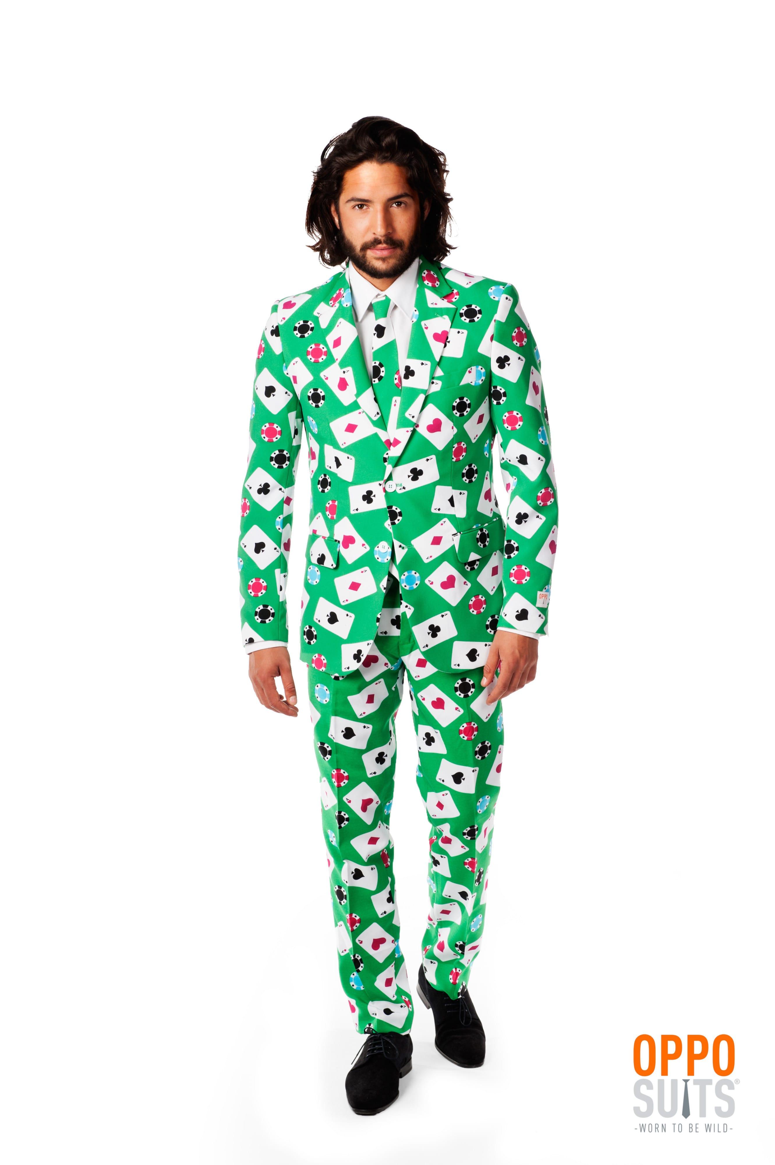 Poker Face Speelkaart Opposuit Kostuum Man