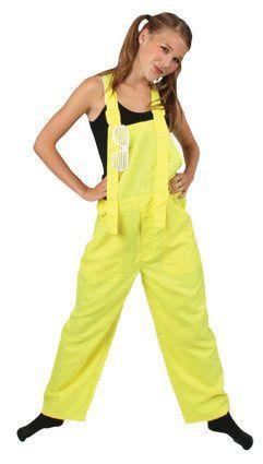Funky Disco Tuinbroek Kids Neon Geel Kind Kostuum