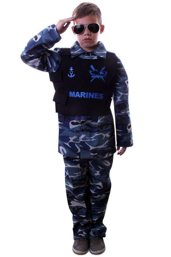 Marinier Paratrooper Kinder Kostuum Blauw Camouflage Jongen