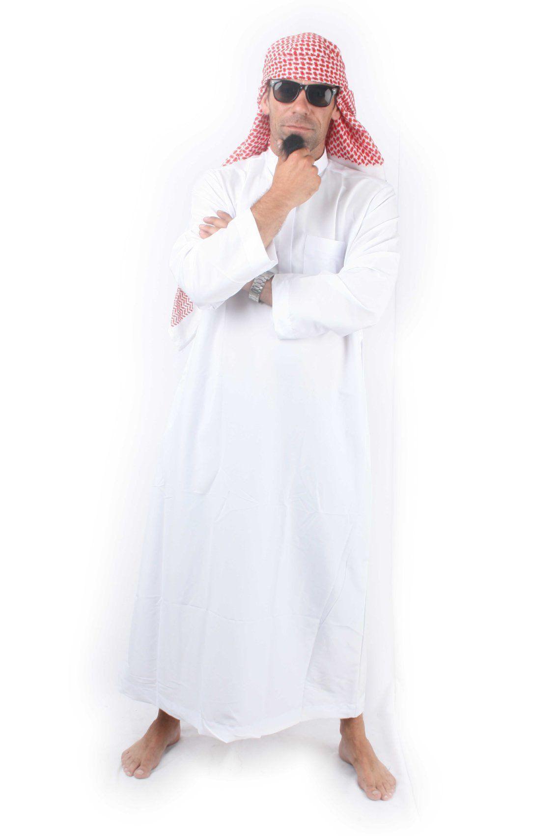 Sheik Al Dubay Wit Met Vredesshawl Man Kostuum