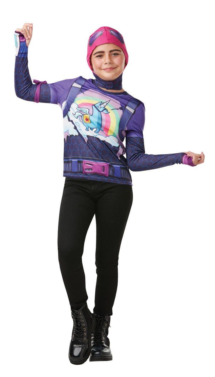 Regenboogstrijder Fortnite Tween Brite Bomber Top Kind Kind Kostuum