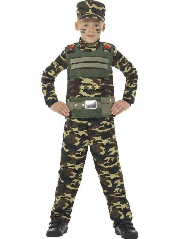 Camouflage Soldaat Tim Jongen Kostuum