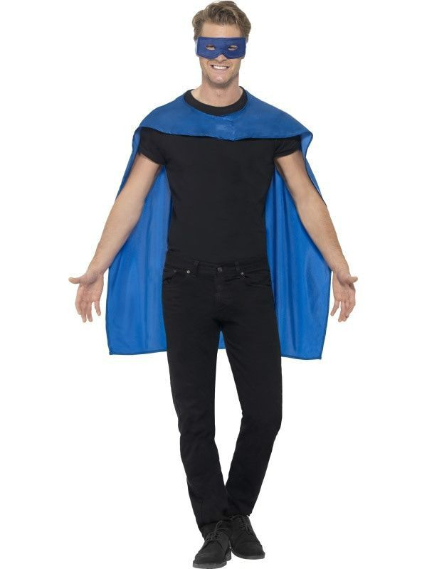 Blauwe Cape En Oogmasker Superheld