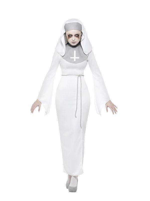 Lijkbleke Spookachtige Klooster Non Vrouw Kostuum