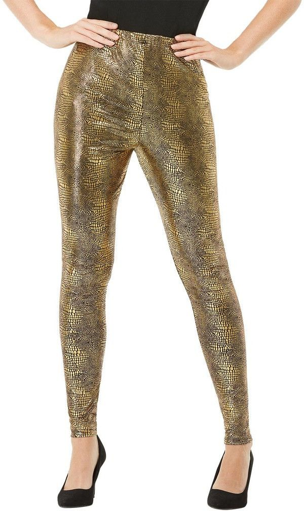 Glimmend Gouden Slangenhuid Legging Reptiel Vrouw