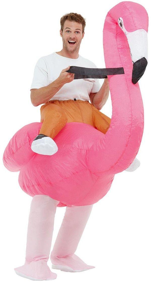 Opblaasbaar Rijden Op Een Flamingo Kostuum