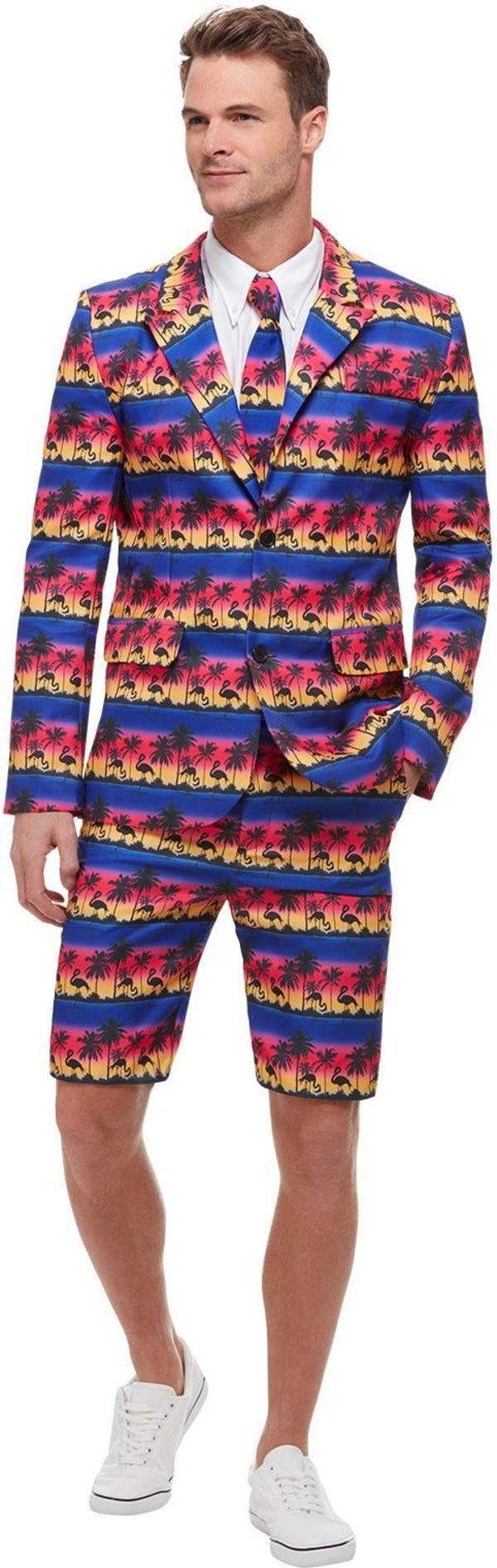 Tropische Zonsondergang Flamingo Man Kostuum