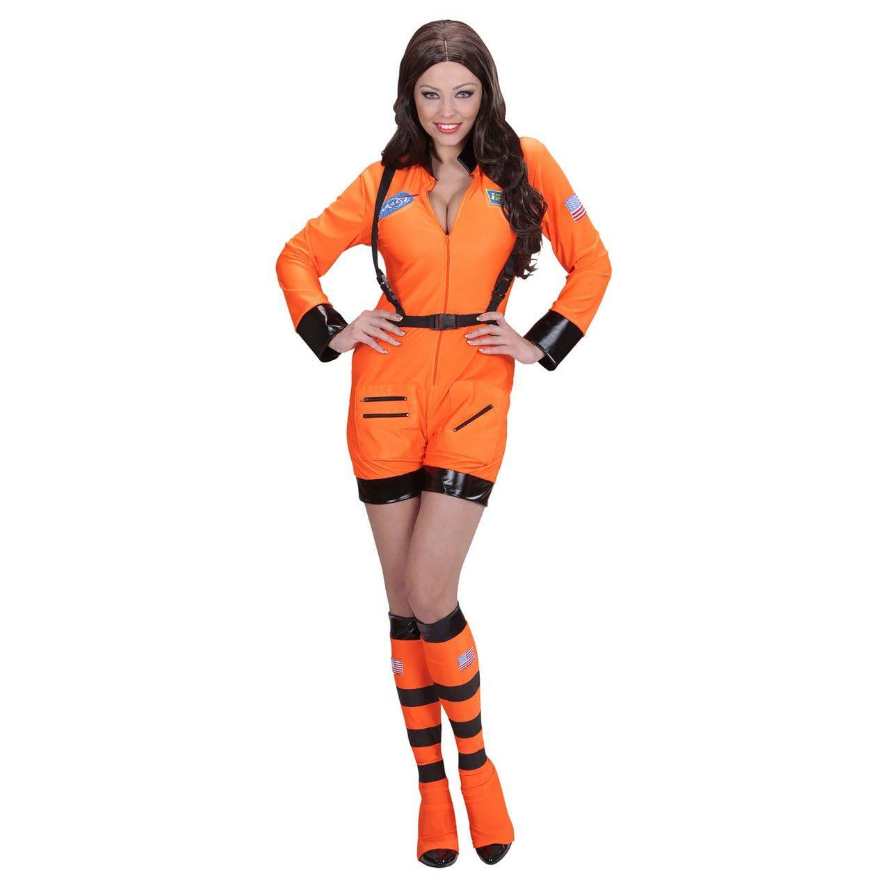 Vrouwelijke Astronaute Oranje Miss Iss Kostuum