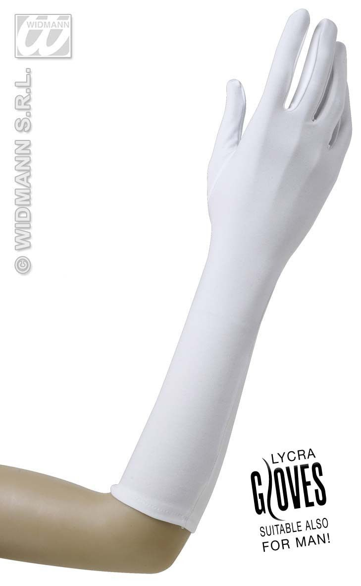 Handschoenen Lycra 37cm Wit
