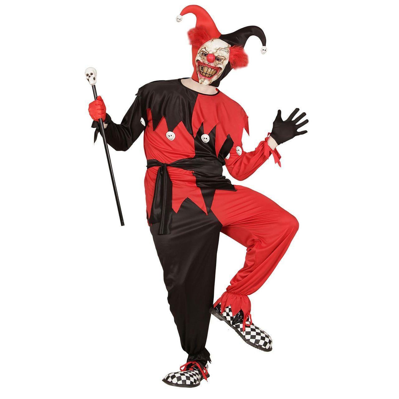 Jolige Evil Jester Zwart / Rood Man Kostuum