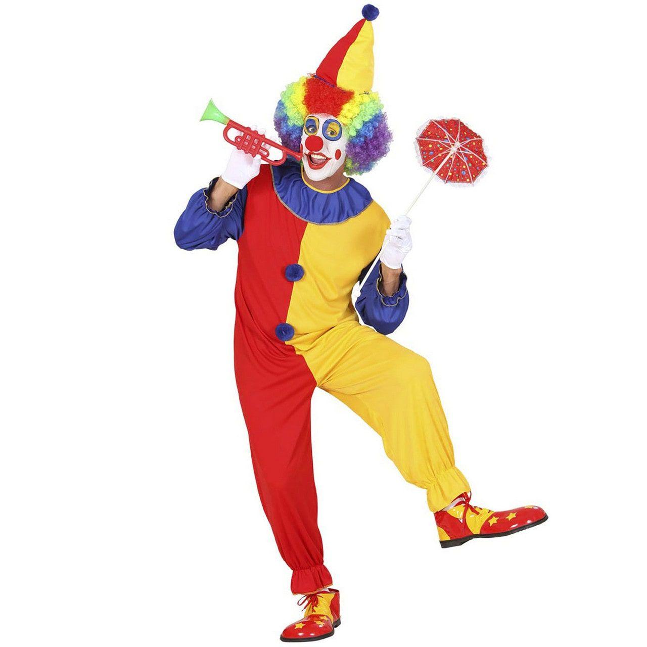 Vrolijke Geel Rode Clown Kostuum Man