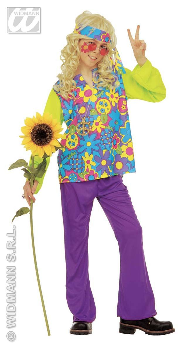 Hippie Jongen Power Of Flower Kostuum