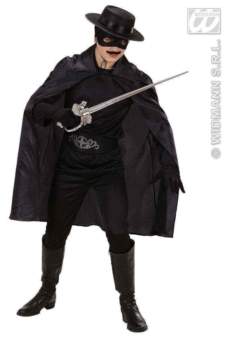 Zwarte Cape 100cm Kostuum
